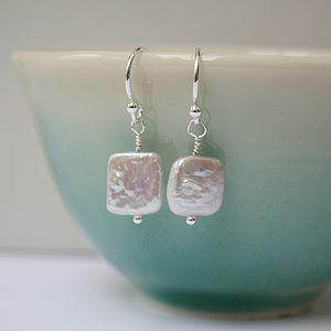 Square Fresh Water Pearl Earrings - earrings