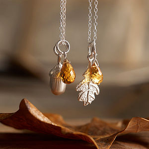 Silver Oak Necklace - autumn woodland inspired jewellery
