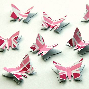 Pink Union Jack 3D Butterfly Table Confetti