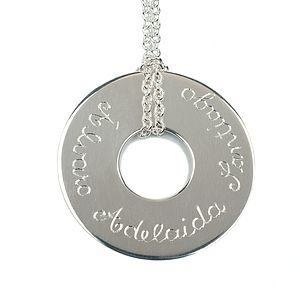 Personalised Silver Large Donut Necklace - women's jewellery