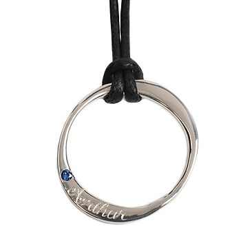 Engraved medium silver ring necklace on Black waxed cotton cord - blue sapphire set stone