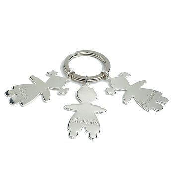 Large sterling silver keyring with 3 engraved cherubs - little girl and little boy