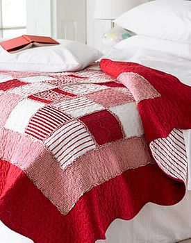 New Red White Patchwork Single Quilt