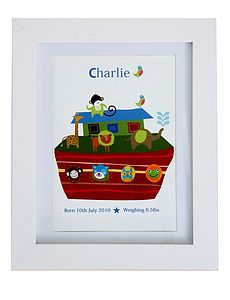 Personalised Boy's Boat Birth/Name Print - children's pictures & paintings