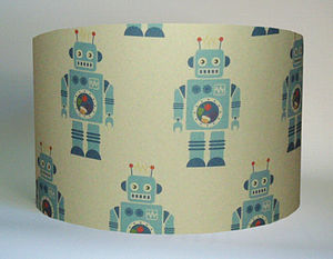 Blue Robots Lampshade - lamp bases & shades