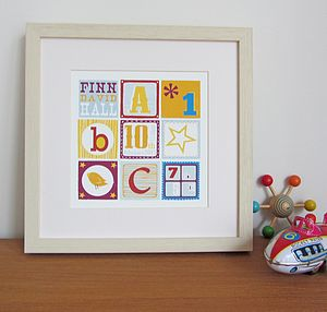 Personalised ABC Birth Date Print - baby's room