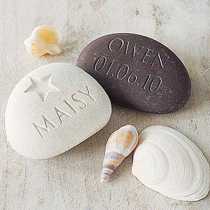 Engraved Name And Date Stone - keepsakes