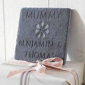 Personalised Mum's Flower Slate