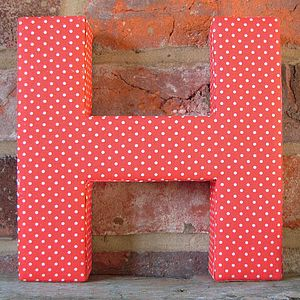 Red Spotted Fabric Wall Alphabet Letters - room decorations