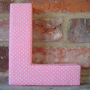 Pink Spotted Fabric Alphabet Wall Letters