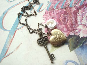 Cream Rose and Filigree Key