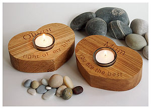 Oak Personalised Heart Tealight Candle Holder - table decorations