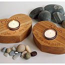 Oak Personalised Heart Tealight Candle Holder
