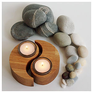 Pair Of Oak Yin-Yang Tealight Candle Holders - table decorations