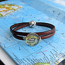 Brown Personalised Location Leather Wrap Bracelet By EVY Designs Ltd