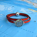 Orange Personalised Location Leather Wrap Bracelet By EVY Designs Ltd