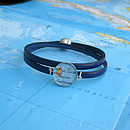 Royal Blue Personalised Location Leather Wrap Bracelet By EVY Designs Ltd
