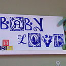 Baby Love canvas in blue