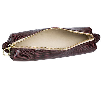 Brown lizard-embossed leather with beige suede lining
