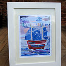 'Evening Tide' Boat Collage Print