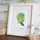 Personalised Watercolour Traditional Silhouette Print