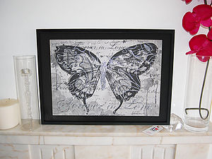 Butterfly Framed Diamante Embellished Artwork - mixed media & collage