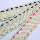 Duo Stitched Linen Ribbon 10m - Brown, Blue and Pink