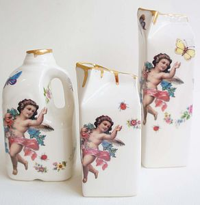 Drippy Gold And Cherub Milk Bottle - jugs & bottles