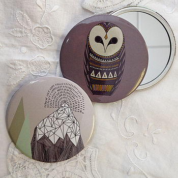 Owl and Mountains Pocket Mirrors