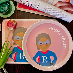Personalised Supermum Plate - crockery & chinaware