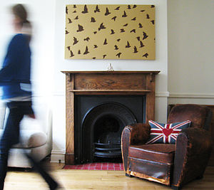 Hand Painted Flocking Birds Canvas - paintings & canvases
