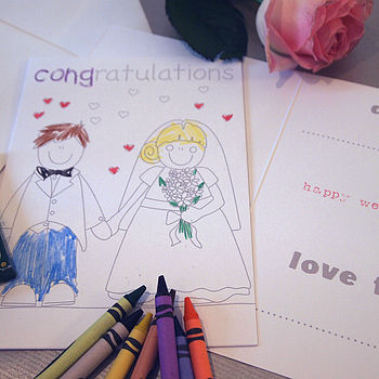 Wedding Colouring In Card For Kids