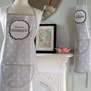 Personalised Grey Spotty Oilcloth Apron - children's cooking