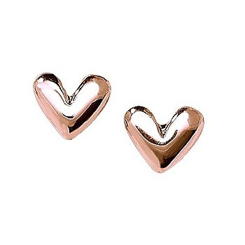 9ct Rose Gold Charmed Heart Stud Earrings