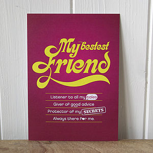 'My Bestest Friend' Keepcard - postcards