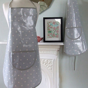 Grey Spotty Oilcloth Apron