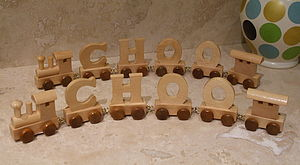 Wooden Train Letters - traditional toys & games