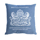 Blue British Passport Cushion