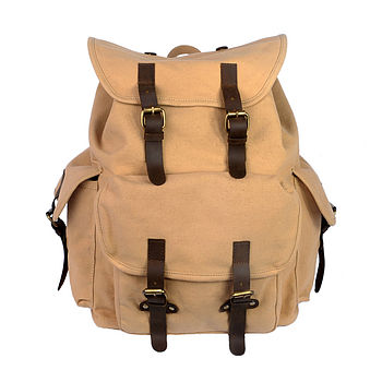 Canvas Backpack With Leather Trim