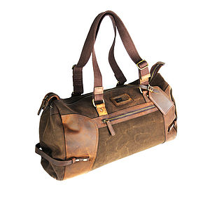 Eureka Leather And Canvas Holdall - adventure awaits him