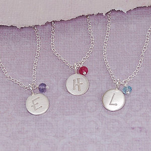 Girls Personalised Silver Birthstone Necklace