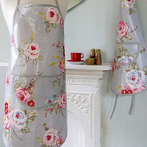 Vintage Roses Oilcloth Apron - aprons