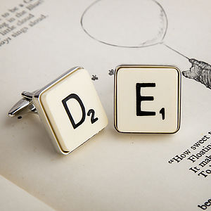 Vintage Letter Tile Cufflinks - for young men
