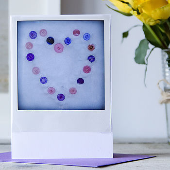 Retro Print Snow Heart Button Card