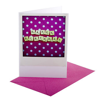 Letter Tile Happy Birthday Retro Card Pink