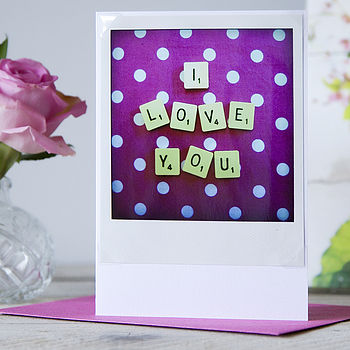 Vintage Letter Tile I Love You Retro Card