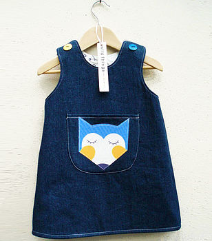 Fox Face Denim Reversible Pinafore