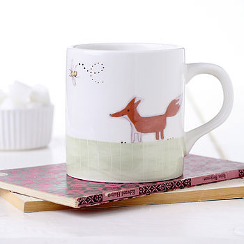 Fox And Rabbit Earthenware Mug