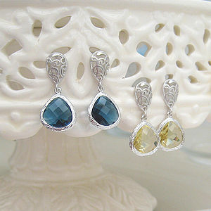 Arran Faceted Glass Teardrop Earrings
