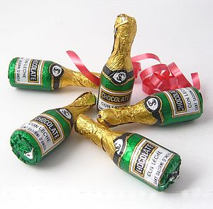 Five Chocolate Champagne Bottles - novelty chocolates